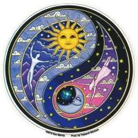 "Celestial Yin Yang - Window Sticker / Decal (4.5"" Circular)"