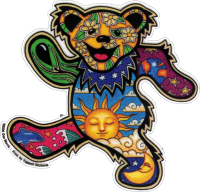 "Grateful Dead Dan Morris Dancing Bear - Window Sticker / Decal (4.5"" X 4.25"")"