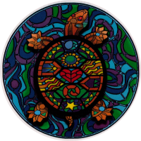 Stained Glass Turtle - Window Sticker