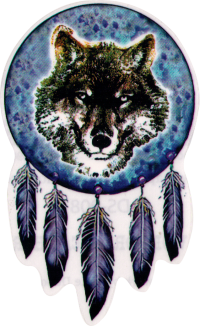Native Wolf Dreamcatcher - Window Sticker / Deca