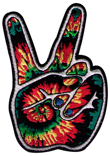 Ps59 tie dye peace fingers patch