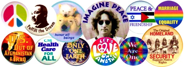 Buttons - Pins - Huge Selection including Coexist, Peace Signs