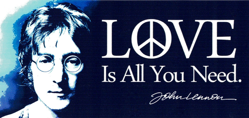 Love Is All You Need John Lennon Small Bumper Sticker Decal Or Magnet Peace Resource Project